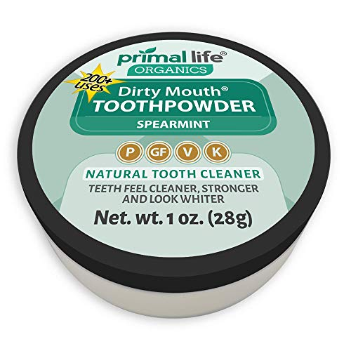 (Dirty Mouth Organic Toothpowder #1 Best Rated All Natural Dental Tooth Powder Cleanser- Gently Polishes, Cleans, Re-Mineralizes, Strengthens Teeth -Spearmint (1oz=3mo Supply) -Primal Life Organics)