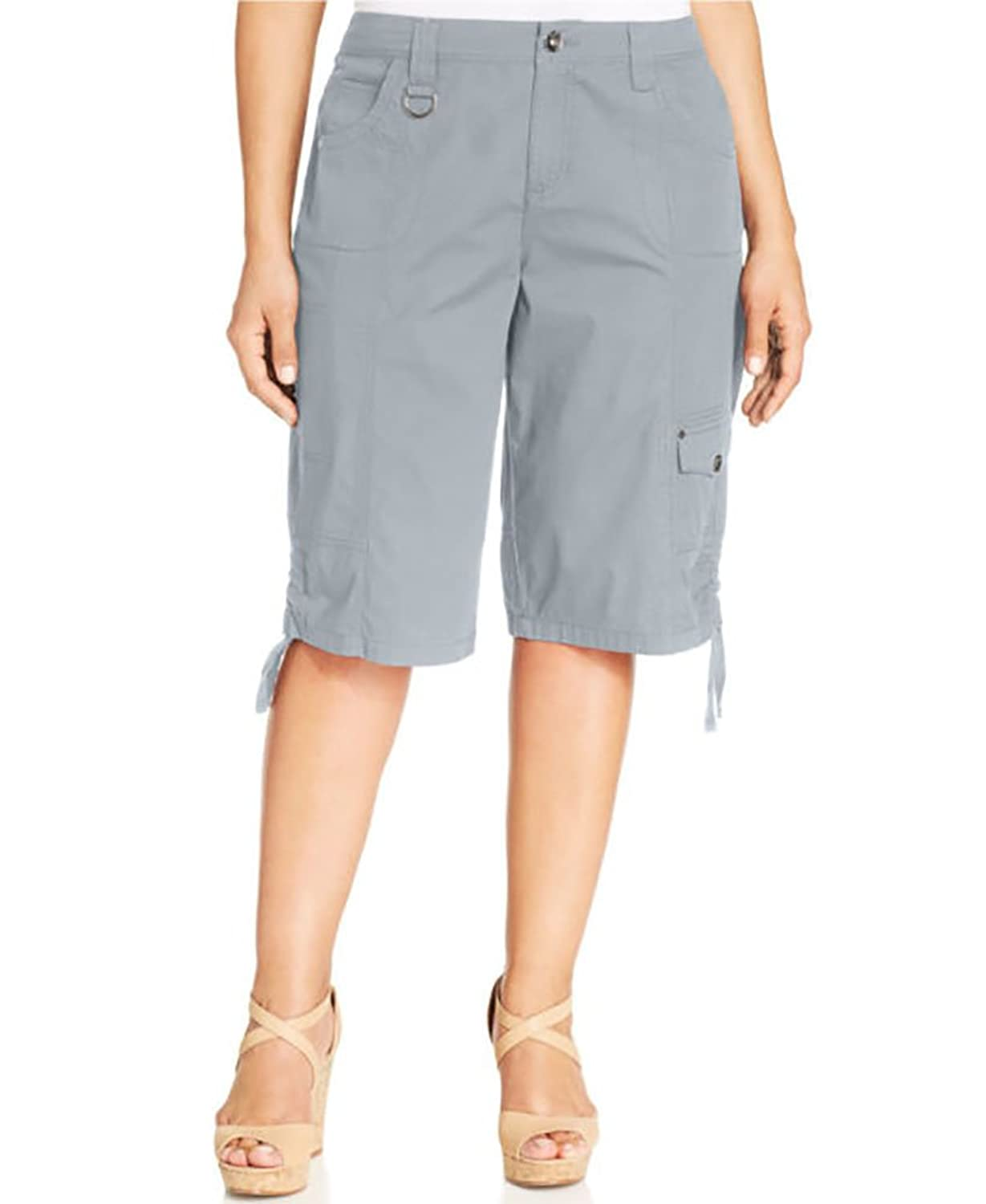 Style & Co Ruched Bermuda Shorts New City Silver 14W