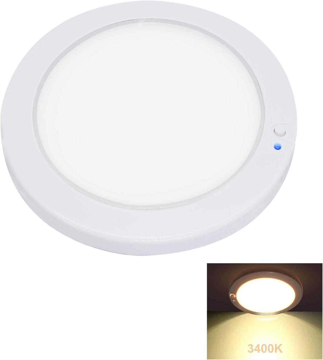 Facon 5Inch Luz del Panel LED de 12V Luz Interior del techo de la pared del techo con atenuador e indicador de encendido / apagado para, Autocaravana, Caravana, Barco, Remolque,