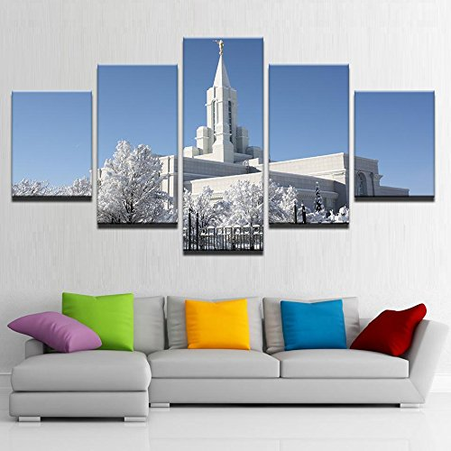 [Medium] Premium Quality Canvas Printed Wall Art Poster 5 Pieces / 5 Pannel Wall Decor Mormon Temple During Winter Painting, Home Decor Pictures - With Wooden Frame