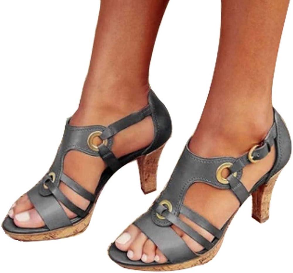 ShoeN Tale Womens Bohemian Style Elegant Leather Platform High Heel Peep Toe Ankle Strap Summer Sandals with Adjustable Buckle