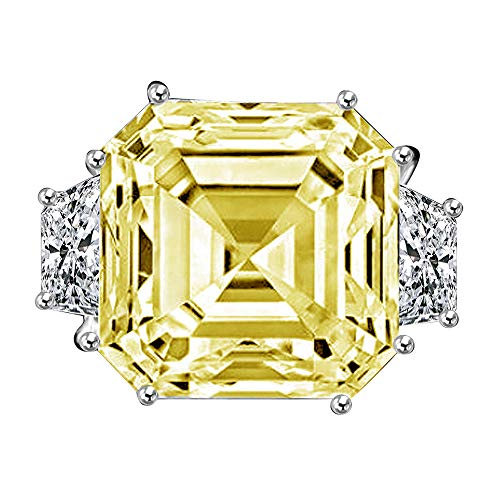 Diamond Veneer - 12Ct. Asscher Cut Center Set with Double Sided Baguettes Vintage Ring Simulated Diamond (Canary, - Asscher Baguette Ring