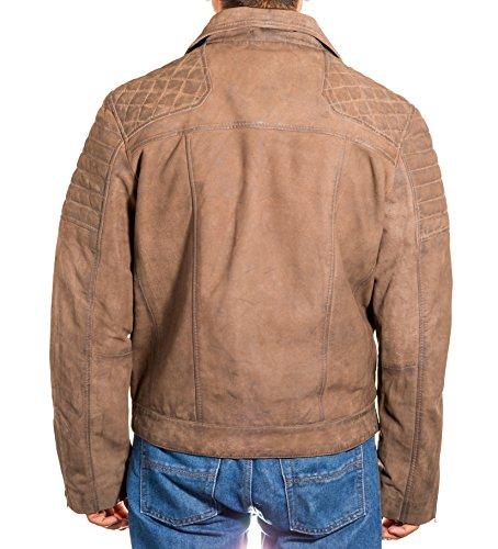 Zip Del Suede Brown Laterale Mens Brando Estate Giacca Motociclista Trapuntato Marrone Cuoio xqwH1Yx