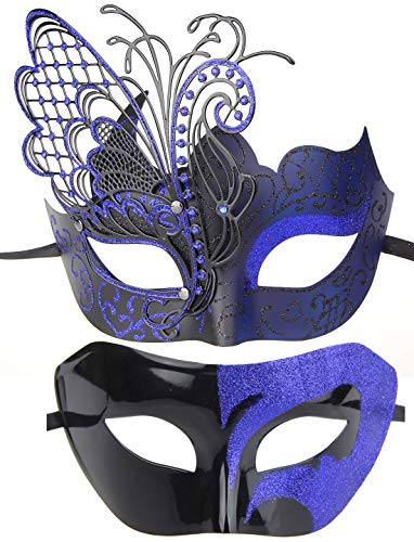 IETANG Couples Pair Half Venetian Masquerade Ball Mask Set Party Costume Accessory (Butterfly-Black&Blue)]()
