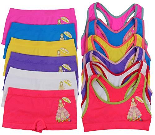 ToBeInStyle Girl's Pack of 6 Set of Racerback Bras and Boyshorts or Bikinis (Medium (Ages 7-11), Parasol Garden) ()