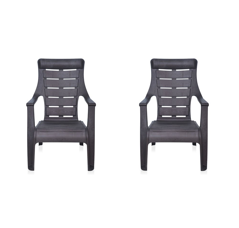Nilkamal plastic chair - Nilkamal Sunday Garden Chair Set Of 2 Weather Brown Amazon In Home Kitchen