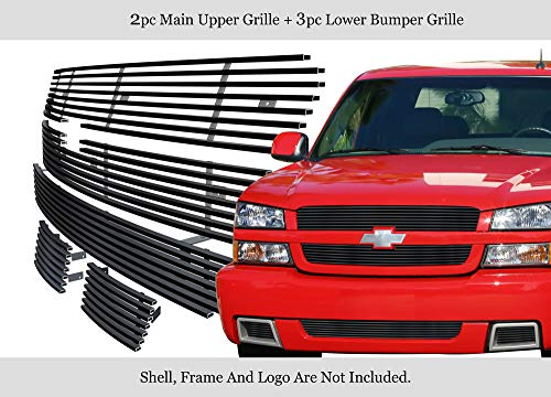 APS Compatible with 03-05 Chevy Silverado 1500 SS Stainless Steel Black Billet Grille Combo C67886J