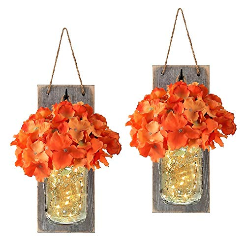 e Rustic Home Decor with Fairy LED String Lights and Orange Hydrangea Flowers Fall Chic Hanging Mason Jar Lights Sconces Wall Decor Accents (Set of 2) ()