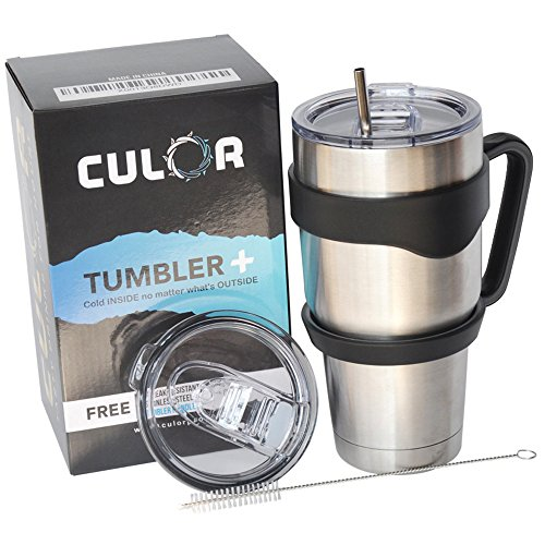 30oz Stainless Steel Tumbler With 100% Leak-Proof Lids. 14.99$ Bonus Value:Grip Handle, Extra Lid, Straw & Brush. No-Sweat Double Wall Insulated Cup. 24-48 Hours ICE Retention by CuLoR