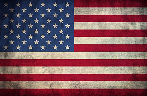 M&R Entertainment Merchanising American Flag Canvas Print Wall Art Ready to Hang, American made with authentic 13 stripes and 50 stars. Made in the USA (48x30)