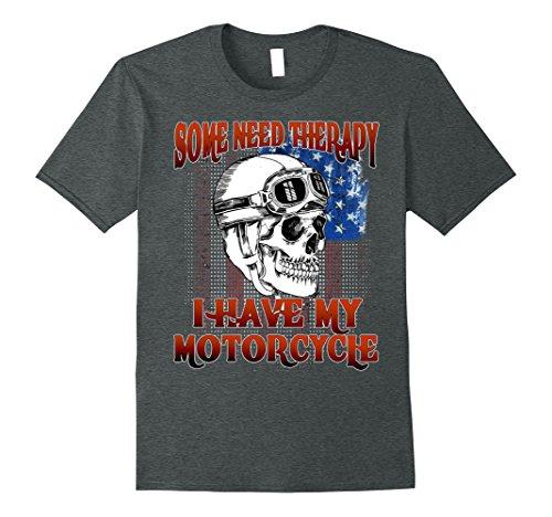 Mens Biker Shirt some need therapy, i need my motorcycle shirts 3XL Dark Heather