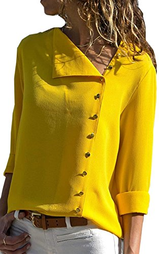 Womens Long Sleeve Button Detail Loose Fit Chiffon Blouse Solid Tops Shirt Small Yellow from Yknktstc