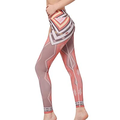 LINGMIN Women's Power Flex Yoga Pants High Waist Workout Capris Pants Activewear Digital Printed Thin Leggings
