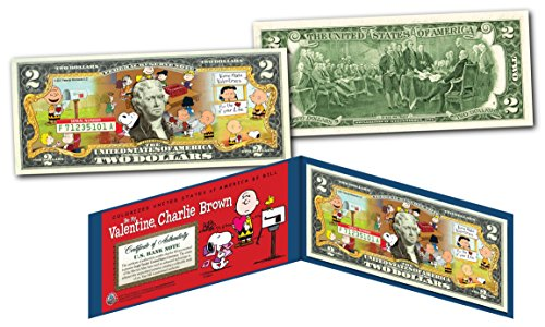 PEANUTS * BE MY VALENTINE, CHARLIE BROWN * Snoopy Officially Licensed $2 US Bill]()
