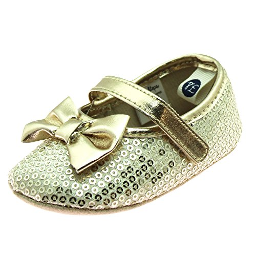 First Steps Baby Girls Sequin Special Occasion Mary Jane Soft Sole Shoe Gold 4