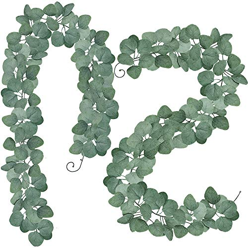 (SUPLA 2 Pack Total 12' Long Artificial Silver Dollar Eucalyptus Leaves Garland Holiday Season Floral Greenery Garlands Fake Hanging Eucalyptus Leaf Garland in Grey Green)