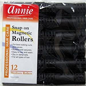 Snap on Magnetic Rollers (Black 12 Medium) by Annie