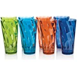 Optix Break-resistant Plastic 20oz Water Cup Tumbler - Set of 8 in 4 Assorted Colors
