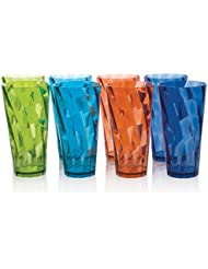 Optix 20-ounce Multi Color Plastic Water Cup Tumbler - Set of 8 in 4 Assorted Colors