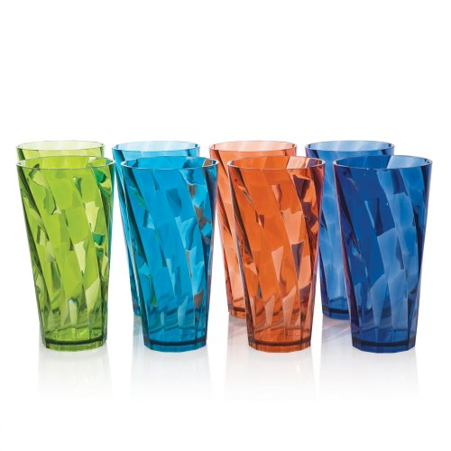 Optix Break-resistant Plastic 20oz Water Cup Tumbler - Set of 8 in 4 Assorted Colors (Plastic Cup Set)