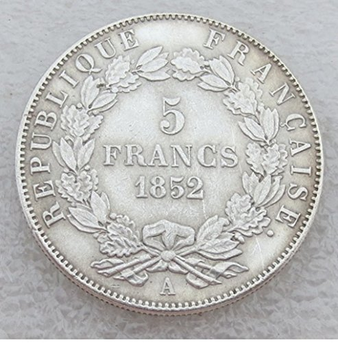 Rare Antique Ancient European French France 1852 A Louis Napoleon Bonaparte 5 Francs Silver Color Coin