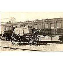 Wells Fargo Stage and Sleeping Car Trains Railroad Original Vintage Postcard