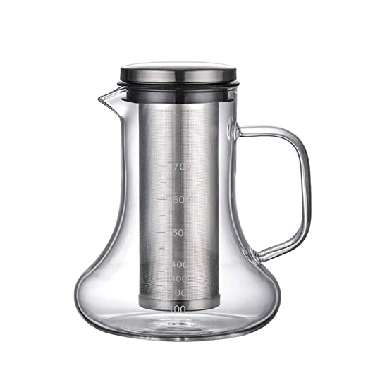 Tetera de Vidrio de borosilicato de Forma Cuadrada con coladores de t/é para infusiones de Hojas Sueltas Cafetera italiana