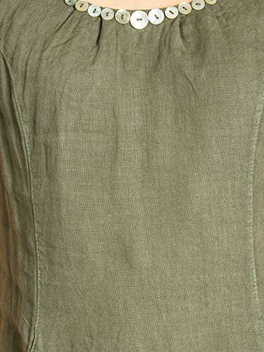 Lino Oliva Donna Decorativi Bottoni Verde Con Estivo Di Vestito Skl018 Caspar X4qwva