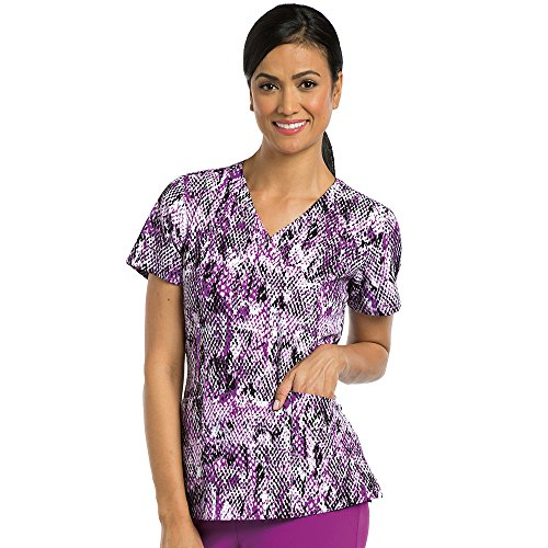 Barco One Women's V-Neck Abstract Print Scrub Top Large Print (Barco Print)