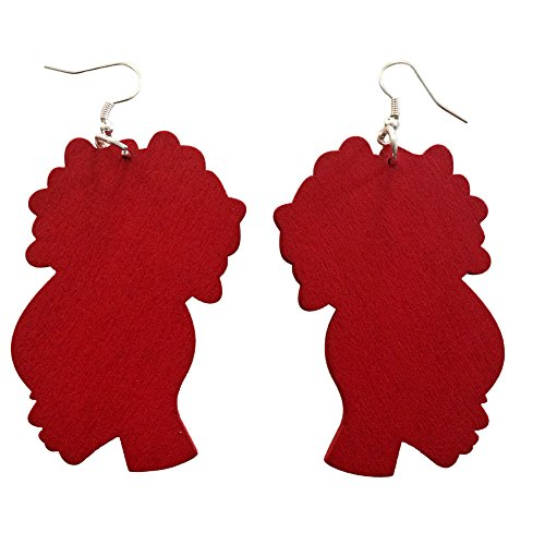Afro Puff Natural Hair Earrings African American Woman Earring African Jewelry Wood Earrings ()