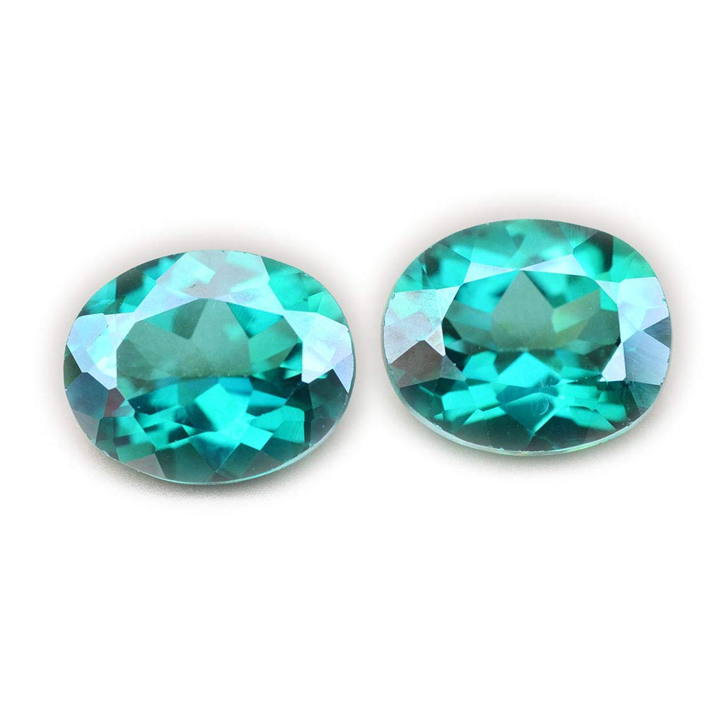 Lovemom 8.74ct/2pcs Natural Oval Coating Green Topaz Brazil #PU