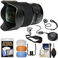 Sigma 20mm f/1.4 Art DG HSM Lens with USB Dock + Sling Strap + Diffusers + Kit for Nikon Digital SLR Cameras
