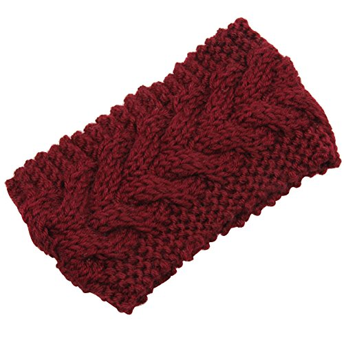 Pusheng Women's Versatile Wool Knit Crochet Twist Hair Band Headband Ear Warmer Wine Red