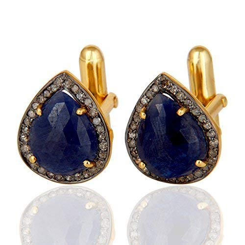 Blue Sapphire Cufflinks, 925 Sterling Silver Diamond Jewelry, Pave Diamond Cuff link Jewelry For Men's Blue Sapphire Gemstone Jewelry