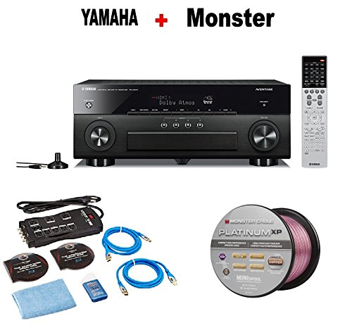Yamaha AVENTAGE Audio & Video Component Receiver,Black (RX-A870BL) + Monster Home Theater Accessory Bundle + Monster - Platinum XP 50' Compact Speaker Cable Bundle by Yamaha