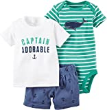 Carter's Baby Boys' Diaper Cover Set Teal White Stripe Whale, Blue, 6 Months