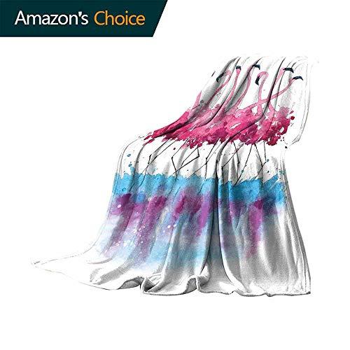 Biederlack Blue Blanket - vanfan-home Animal Outdoor Blanket,Flamingos Love Birds Feather Romance Brushstroke Splash Watercolor Effect Super Soft Faux Fur Plush Decorative Blanket (50