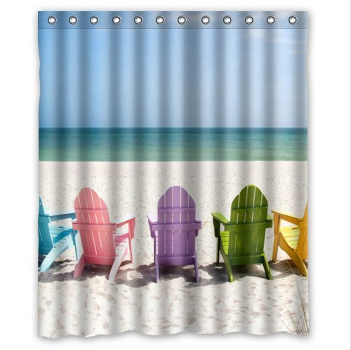 Special Design Beach Chairs Waterproof Bathroom Fabric Shower Curtain,Bathroom decor 60