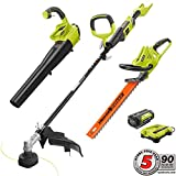 Ryobi Gas-Like Power 40-Volt Lithium-Ion Cordless Trimmer/Blower/Hedge Combo Kit – 2.6 Ah Battery and Charger Included