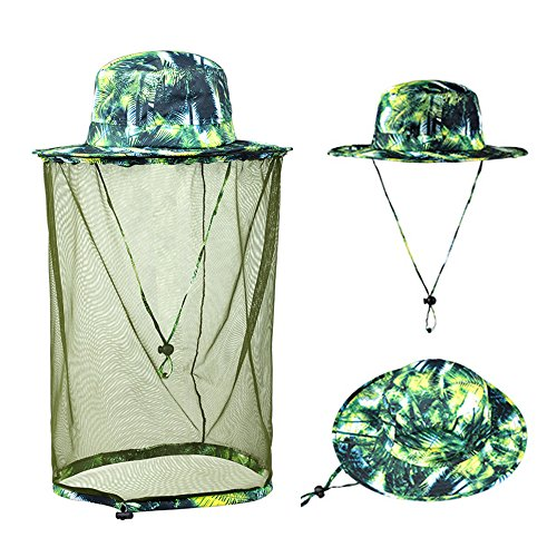 Ezyoutdoor Unisex Camouflage Outdoor Removable Anti-mosquito Polyester Boonie Hat with 360 Degree Head Face Neck Protection Net Mesh for Hiking Hunting Boating Fishing Camping (#002)