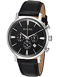 Bulova Mens Quartz Stainless Steel and Leather Casual Watch, Color:Black (Model: 96B262)