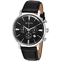 Bulova Men's Quartz Stainless Steel and Leather Casual Watch, Color:Black (Model: 96B262)