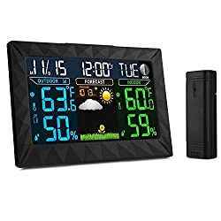 iLifeSmart Digital Color Forecast Weather Station Alarm Clock with Indoor / Outdoor Wireless Sensor, Temperature Humidity Monitor Thermometer, Time Display Function for Home/Kitchen/Office
