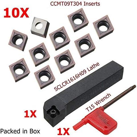 Werkzeug Fräser Holzbearbeitung Werkzeug Drehen Halter mit CCMT09T304 Karbid-Einsätze 10pcs SCLCR1616H09 Drehwerk Drehen