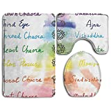 XsWu Bathroom Rug Chakra Brushstroke Inspired Lotus Pose Chakra Spots In The Body Faith And Harmony Icon 3 Piece Bath Mat Set Contour Rug And Lid Cover