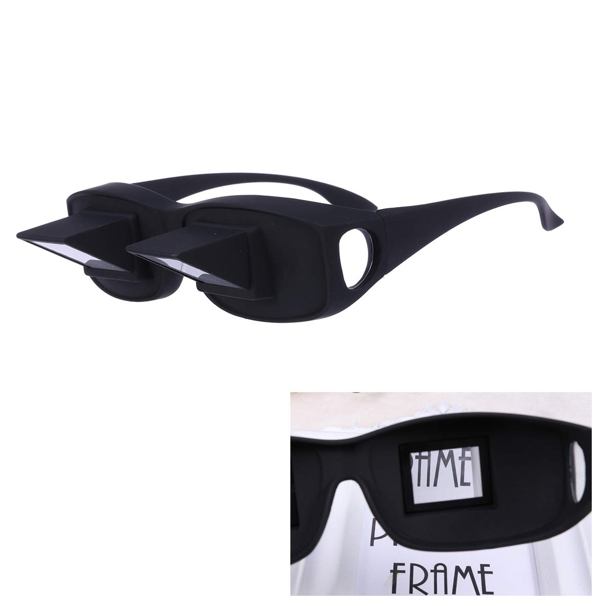 81548d73e95 Amazon.com  HEALIFTY Prism Glasses Horizontal Lazy Reading Glasses Lying  Down Large Size Bed Watching High Definition Prism Eye Glasses Spectacles  (Black)  ...
