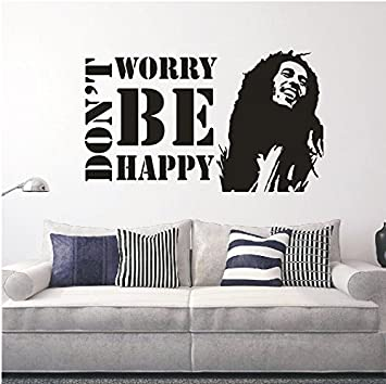 Amazon.com: Vinyl Wall Decals Don\'t Worry Be Happy BOB MARLEY ...