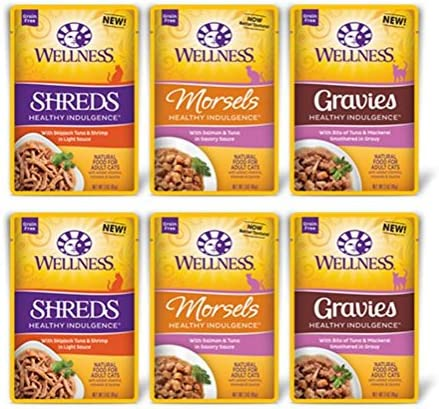 Wellness Healthy Indulgence Grain Free Cat Food 3 Flavor Variety 6 Pouch Bundle 2 Skipjack Tuna Shrimp Shreds, 2 Salmon Tuna Morsels, and 2 Tuna Mackerel Gravies, 3 Oz. Ea. 6 Pouches Total