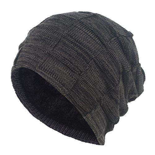 Janey&Rubbins Winter Baggy Oversize Solid Knit Beanie Hat Warm Villi Lined Skull Ski Cuff Stocking Cap (DH-Black)
