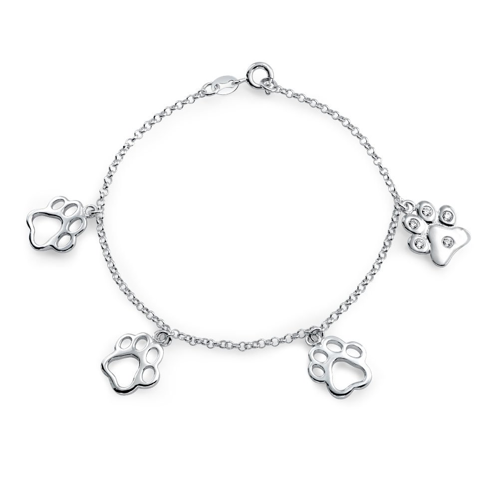 925 Silver CZ Dangling Paw Print Animal Charm Bracelet 7in